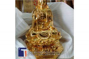 Phật bà Quan Âm bằng đồng mạ vàng 24k